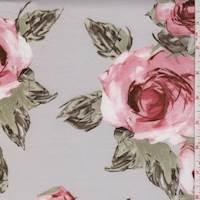 Soft Grey/Pink Rose Scuba Knit