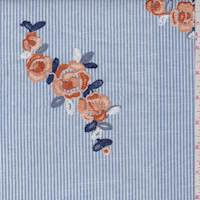 Blue Stripe Embroidered Oxford Shirting