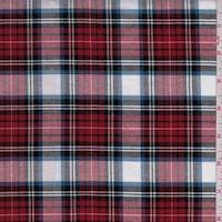 *3 1/2 YD PC--Red/Black/White Plaid Oxford Shirting