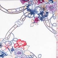 White/Tangerine Floral Rayon Gauze
