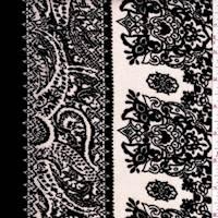 Black/Beige Baroque Stripe Rayon Gauze
