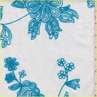 *3 YD PC--White/Aqua Embroidered Bold Floral Lawn
