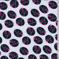 *3 YD PC--White/Black Floral Dot Challis