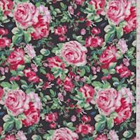 *2 3/8 YD PC--Black/Pink/Red Rose Cluster Rayon Challis