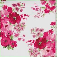 *3 1/4 YD PC--White/Berry Floral Rayon Challis
