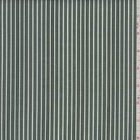 Moss/White Stripe Cotton Shirting