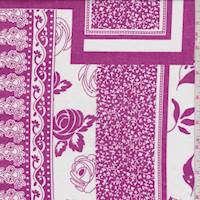 White/Magenta Quilt Block Cotton Lawn