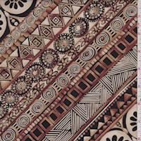 Beige/Walnut Deco Stripe Cotton Poplin