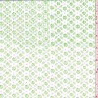 White/Lime Floral Leno Stripe Cotton Poplin