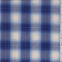 Cream/Violet Blue Shadow Plaid Cotton Poplin