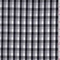 Grey/White/Black Check Cotton Poplin