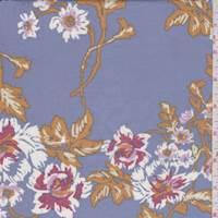 Dark Periwinkle Floral Cotton Poplin