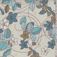 Ivory/Turquoise/Teal Floral Cotton Poplin