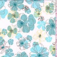 White/Jade Blue Sketch Floral Cotton Poplin