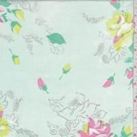 Pale Mint/Pink Floral Bouquet Cotton Poplin