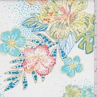 White Multi Dot Floral Cotton Poplin