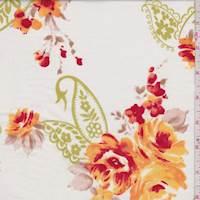 White/Gold Floral Paisley Cotton Poplin