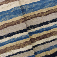 *3/4 YD PC-Brown/Blue Designer Chesapeake Stripe Chenille Home Decorating Fabric