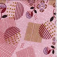 Dusty Pink Geo Floral Cotton Lawn