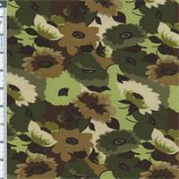 *3 YD PC--Olive Green Floral Moleskin