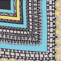 *7/8 YD PC--Turquoise Morrocan Tile Chiffon