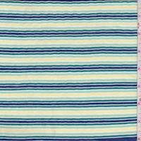 Yellow/Blue Multi Stripe 2 Ply Jersey Knit