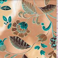 Caramel/Teal Stylized Floral Cotton Poplin