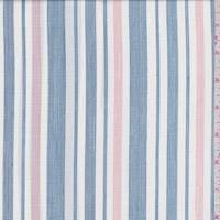 White/Navy/Pink Stripe Shirting