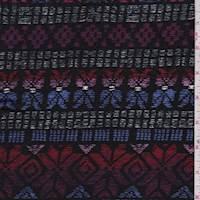 Black/Red Deco Stripe Brushed Jersey Knit