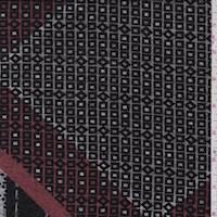 Taupe/Red Mosaic Diamond Sweater Knit