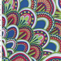 *2 YD PC--Lime Green/Pink/Multi Geometric Scallop Print Faille