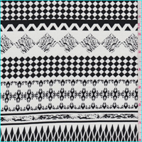 *2 1/2 YD PC--White/Black Decorative Stripe Rayon Challis