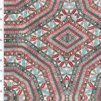 *2 5/8 YD PC--Red/Teal/Multi Moroccan Polygon Print Challis