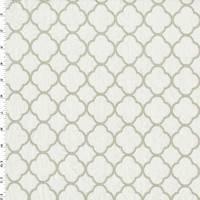 *2 YD PC-Taupe Beige/White Quatrefoil Matelasse Decorating Fabric