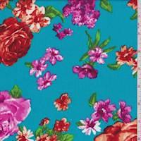 *3 1/4 YD PC--Dark Turquoise Floral Rayon Challis