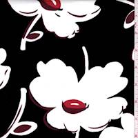 *2 3/4 YD PC--Black/White Modern Floral Sateen