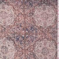 Taupe Multi Moroccan Tile Crinkle Chiffon