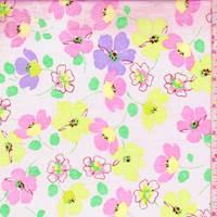 Pale Pink Multi Tossed Floral Cotton Poplin