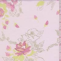Soft Pink Rose Bouquet Cotton Poplin