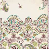 Buff/Lime/Brown Paisley Cotton Poplin