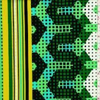 Mint/Navy/Yellow Pixel Cotton Poplin
