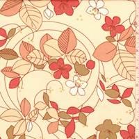 Apricot/Clay Floral Cotton Poplin