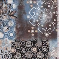 Blue/Black/Tan Stylized Block Cotton Poplin