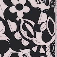 *3 YD PC--Black/Pink Modern Floral ITY Jersey Knit