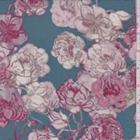 Teal/Burgundy Floral Cluster Crepe De Chine