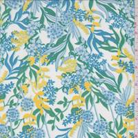 White/Aqua/Lemon Floral Crepe De Chine