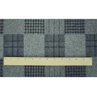*4 1/4 YD PC--Gray/Blue/Black Wool Blend Checkered Plaid Coating