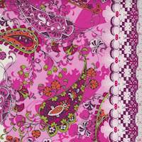 *1 YD PC--White/Pink Paisley Print Cotton Poplin