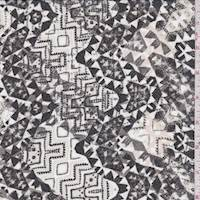 Beige/Ivory/Black Inca Print Chiffon
