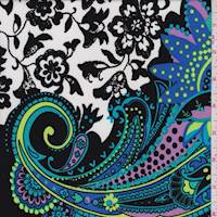 *2 1/4 YD PC--Black/Turquoise Paisley Scroll ITY Jersey Knit